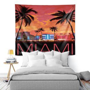 Artistic Wall Tapestry | Lantern Press - Miami Beach | Coast sea ocean cityscape