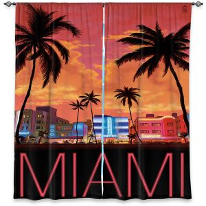 Decorative Window Treatments | Lantern Press - Miami Beach | Coast sea ocean cityscape