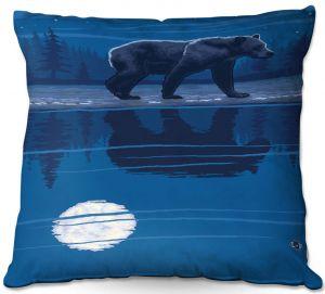 Decorative Outdoor Patio Pillow Cushion | Lantern Press - Moonlight Bear | Nature Night