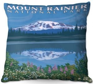 Throw Pillows Decorative Artistic   Lantern Press - Mount Rainier National Park