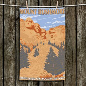 Unique Hanging Tea Towels | Lantern Press - Mount Rushmore | Monument Mountain Scultpure Presidents