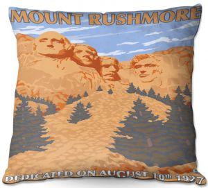 Decorative Outdoor Patio Pillow Cushion | Lantern Press - Mount Rushmore | Monument Mountain Scultpure Presidents