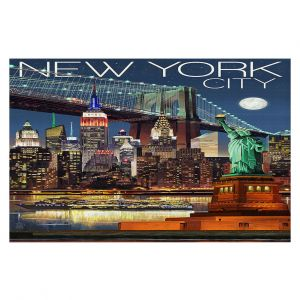 Decorative Floor Coverings | Lantern Press - New York City Skyline | Cityscape Downtown Tennessee Night