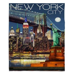 Decorative Fleece Throw Blankets | Lantern Press - New York City Skyline | Cityscape Downtown Tennessee Night