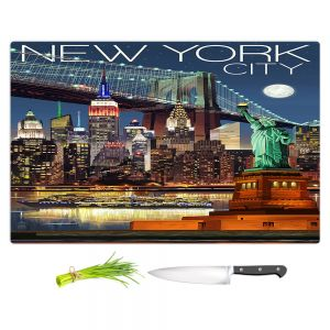 Artistic Kitchen Bar Cutting Boards | Lantern Press - New York City Skyline | Cityscape Downtown Tennessee Night