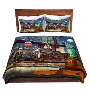 Artistic Duvet Covers and Shams Bedding | Lantern Press - New York City Skyline | Cityscape Downtown Tennessee Night