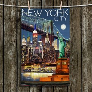 Unique Hanging Tea Towels | Lantern Press - New York City Skyline | Cityscape Downtown Tennessee Night