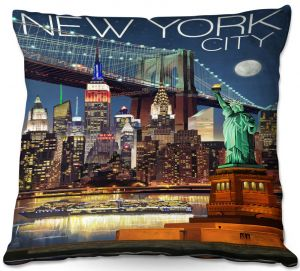 Decorative Outdoor Patio Pillow Cushion | Lantern Press - New York City Skyline | Cityscape Downtown Tennessee Night