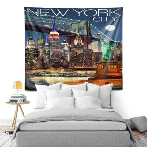 Artistic Wall Tapestry | Lantern Press - New York City Skyline | Cityscape Downtown Tennessee Night