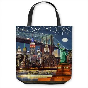 Unique Shoulder Bag Tote Bags   Lantern Press - New York City Skyline   Cityscape Downtown Tennessee Night