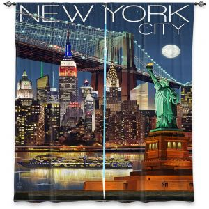 Decorative Window Treatments | Lantern Press - New York City Skyline | Cityscape Downtown Tennessee Night