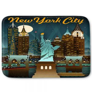 Decorative Bathroom Mats | Lantern Press - New York Liberty Skyline | Cityscape Downtown Statue