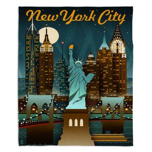Decorative Fleece Throw Blankets | Lantern Press - New York Liberty Skyline | Cityscape Downtown Statue