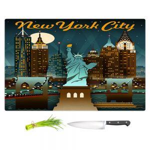 Artistic Kitchen Bar Cutting Boards | Lantern Press - New York Liberty Skyline | Cityscape Downtown Statue