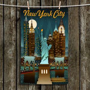 Unique Bathroom Towels | Lantern Press - New York Liberty Skyline | Cityscape Downtown Statue