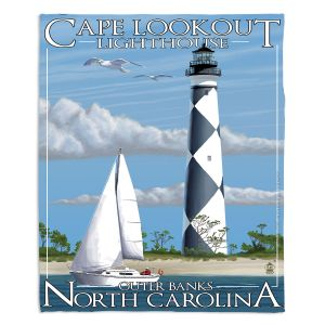 Decorative Fleece Throw Blankets | Lantern Press - Outer Banks North Carolina Lighthouse