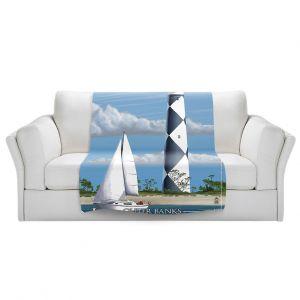 Artistic Sherpa Pile Blankets | Lantern Press - Outter Banks North Carolina Lighthouse