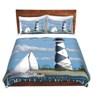 Artistic Duvet Covers and Shams Bedding | Lantern Press - Outter Banks North Carolina Lighthouse