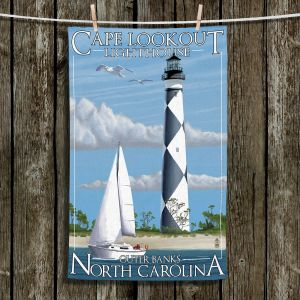 Unique Hanging Tea Towels | Lantern Press - Outter Banks North Carolina Lighthouse | Lighthouse Beach Boats