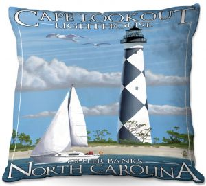 Decorative Outdoor Patio Pillow Cushion | Lantern Press - Outter Banks North Carolina Lighthouse
