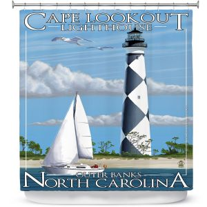 Premium Shower Curtains | Lantern Press - Outter Banks North Carolina Lighthouse