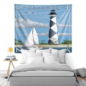 Artistic Wall Tapestry   Lantern Press - Outter Banks North Carolina Lighthouse