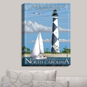 Decorative Canvas Wall Art | Lantern Press - Outter Banks North Carolina Lighthouse