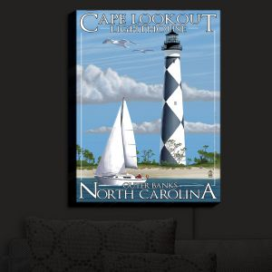 Nightlight Sconce Canvas Light | Lantern Press - Outter Banks North Carolina Lighthouse