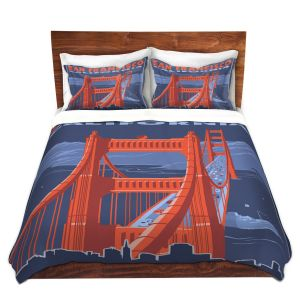 Unique Duvet Twill Queen from DiaNoche Designs by Lantern Press - San Francisco Golden Gate Bridge I