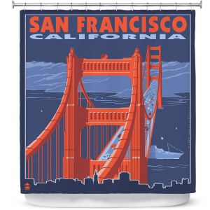 Premium Shower Curtains | Lantern Press - San Francisco Golden Gate Bridge I