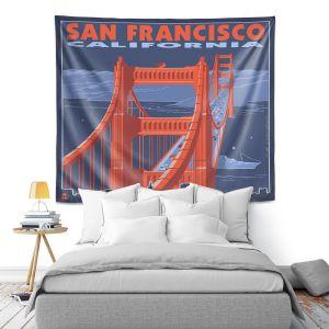 Artistic Wall Tapestry   Lantern Press - San Francisco Golden Gate Bridge I