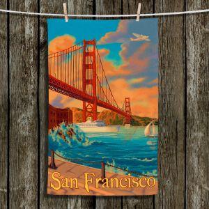 Unique Hanging Tea Towels | Lantern Press - San Francisco Golden Gate Bridge III | Beach Ocean Golden Gate Bridge