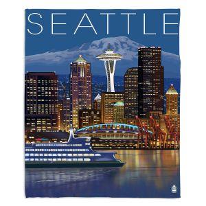 Decorative Fleece Throw Blankets | Lantern Press - Seattle Skyline
