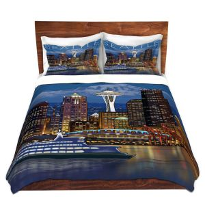 Artistic Duvet Covers and Shams Bedding | Lantern Press - Seattle Skyline