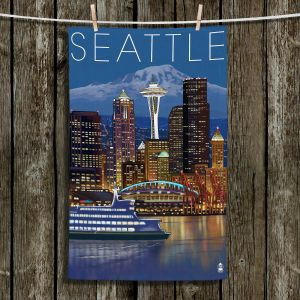 Unique Hanging Tea Towels | Lantern Press - Seattle Skyline | Seattle Skyline Boats