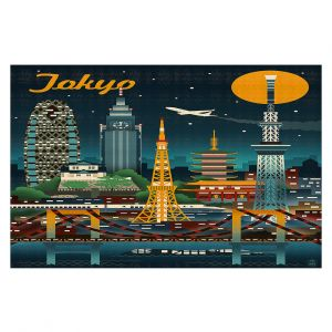 Decorative Floor Coverings | Lantern Press - Tokyo Skyline | Cityscape Downtown Japan