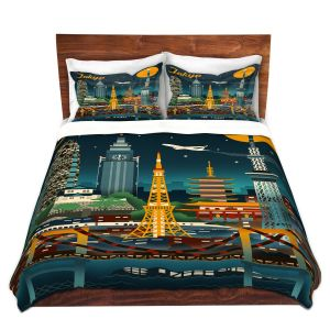 Artistic Duvet Covers and Shams Bedding | Lantern Press - Tokyo Skyline | Cityscape Downtown Japan