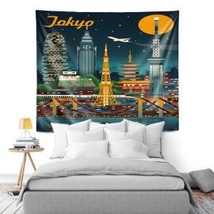 Artistic Wall Tapestry | Lantern Press - Tokyo Skyline | Cityscape Downtown Japan
