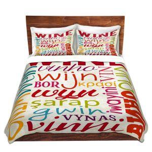 Artistic Duvet Covers and Shams Bedding | Lantern Press - Wine Language | Typography word art
