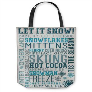 Unique Shoulder Bag Tote Bags | Lantern Press - Winter Quotes | Typography word art