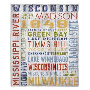 Decorative Fleece Throw Blankets   Lantern Press - Wisconsin Quotes   Typography word art