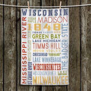 Unique Hanging Tea Towels | Lantern Press - Wisconsin Quotes | Typography word art