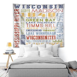 Artistic Wall Tapestry   Lantern Press - Wisconsin Quotes   Typography word art