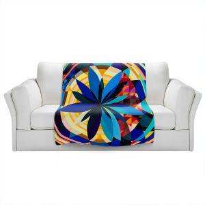 Artistic Sherpa Pile Blankets | Lorien Suarez - Geo Botanicals 29 | Abstract Geometric Pattern