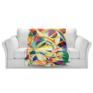 Artistic Sherpa Pile Blankets | Lorien Suarez - Geo Botanicals 41 | Abstract Geometric Pattern