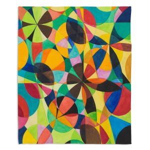 Decorative Fleece Throw Blankets | Lorien Suarez - Geo Botanicals 44 | Abstract Geometric Pattern