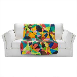 Artistic Sherpa Pile Blankets | Lorien Suarez - Geo Botanicals 44 | Abstract Geometric Pattern