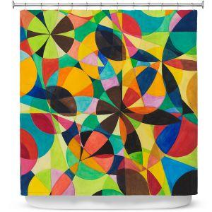 Premium Shower Curtains | Lorien Suarez - Geo Botanicals 44 | Abstract Geometric Pattern