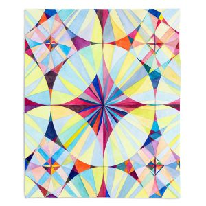 Decorative Fleece Throw Blankets | Lorien Suarez - Geo Botanicals 46 | Abstract Geometric Pattern