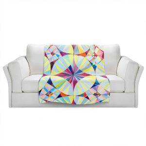 Artistic Sherpa Pile Blankets | Lorien Suarez - Geo Botanicals 46 | Abstract Geometric Pattern